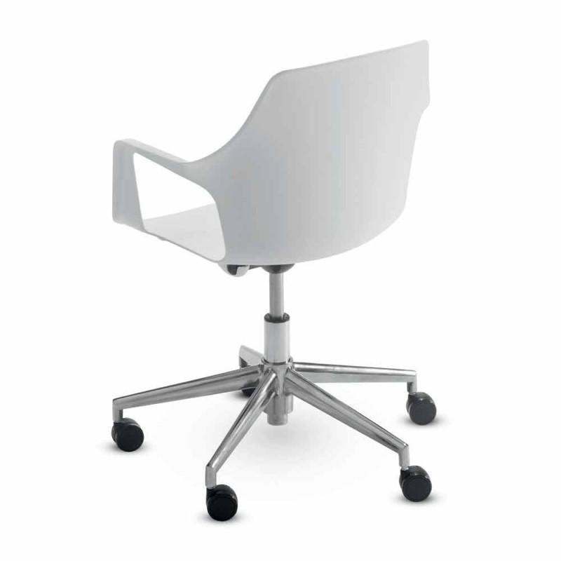 Chaise de bureau en aluminium et polypropylène Made in Italy, 2 pièces - Charis
