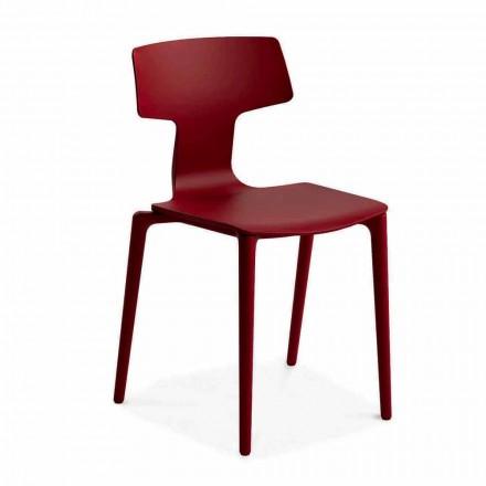 Chaises empilables d'extérieur en polypropylène fabriquées en Italie, 4 pièces - Claribel