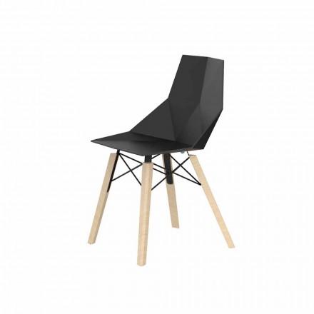 Chaises de salon ou de cuisine en polypropylène et bois - Faz Wood par Vondom