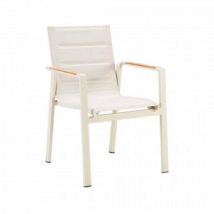Chaise de salle à manger extérieure empilable en aluminium et accoudoirs 4 pièces - Bilel