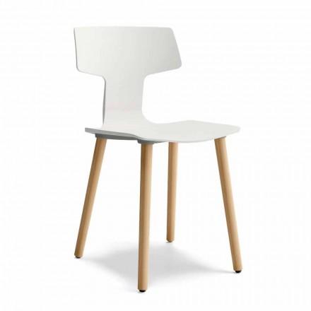Chaise de salle à manger en bois et polypropylène Made in Italy, 2 pièces - Clover