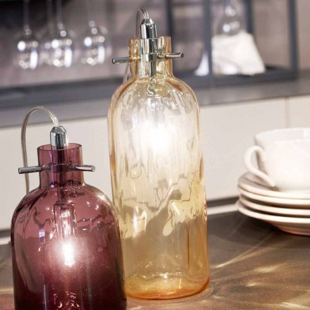 Selene Bossa Nova lampe de table Ø10 H 26 cm en verre soufflé ambre