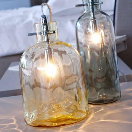 Selene Bossa Nova lampe de table Ø15 H21 cm, verre soufflé ambra