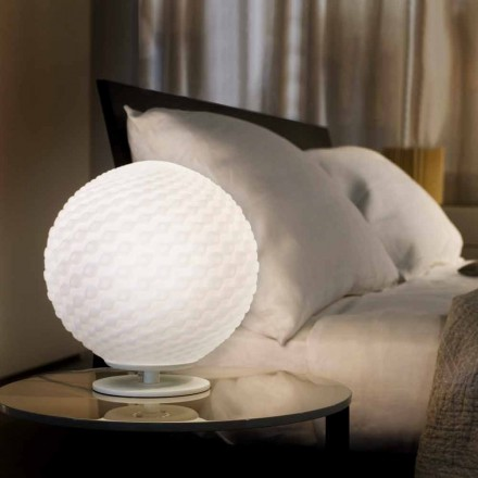 Selene Domino lampe de table  blanche en verre Ø27 H 30cm