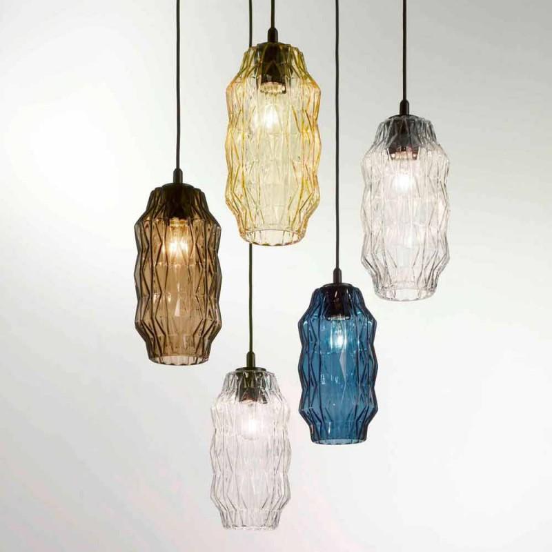 Selene lampe suspension Origami verre soufflé Ø16 H 30 / 140cm