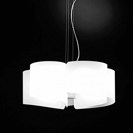 Selene Papiro  lampe suspendue blanche en cristal Ø65 x H140 cm