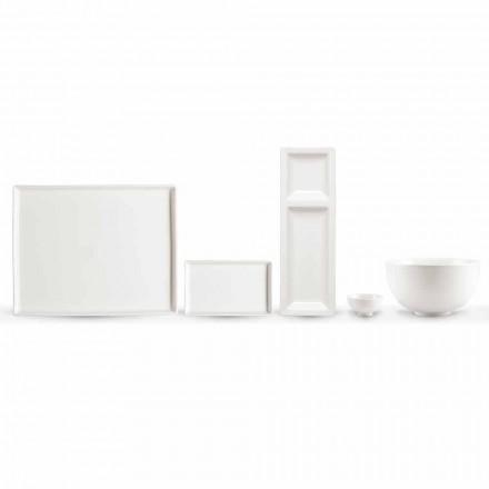Ensemble de 20 plats en porcelaine blanche au design rectangulaire moderne - Laos