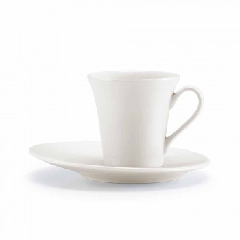 Service 24 assiettes blanches modernes et 12 tasses en porcelaine - Monaco