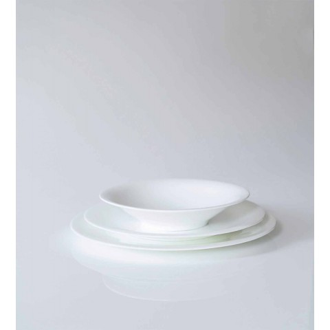 24 assiettes élégantes en porcelaine blanche - Doriana