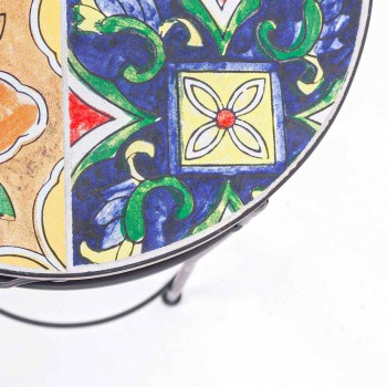 Service 3 Tables rondes de jardin en acier et décors - Enchanteur