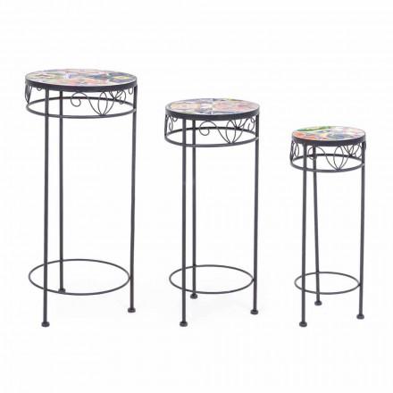 3 Tables d'extérieur rondes en acier avec décors design - Enchanteur