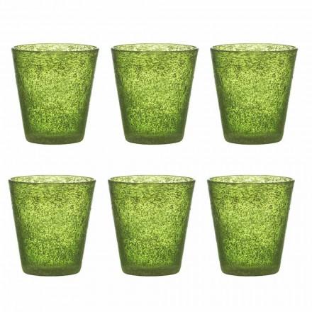 Ensemble de 12 verres en verre soufflé de couleur avec un design moderne - Pumba