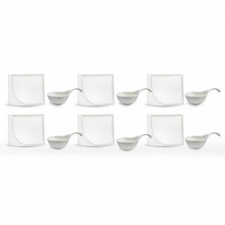 Service Apéritif 12 Pièces Assiettes Design Modernes En Porcelaine Blanche - Nalah