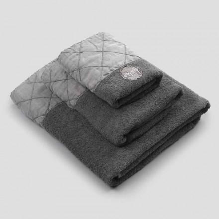 Serviette de visage, serviette d'invité et serviette éponge avec décoration, 3 pièces - Hassim