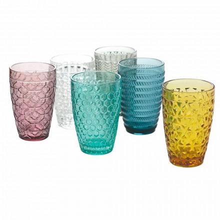 Ensemble de verres modernes en verre coloré décoré 12 pièces - Mix