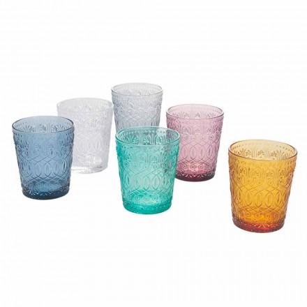 Service de verres à eau en verre coloré et décoré, 12 pièces - Pizzotto