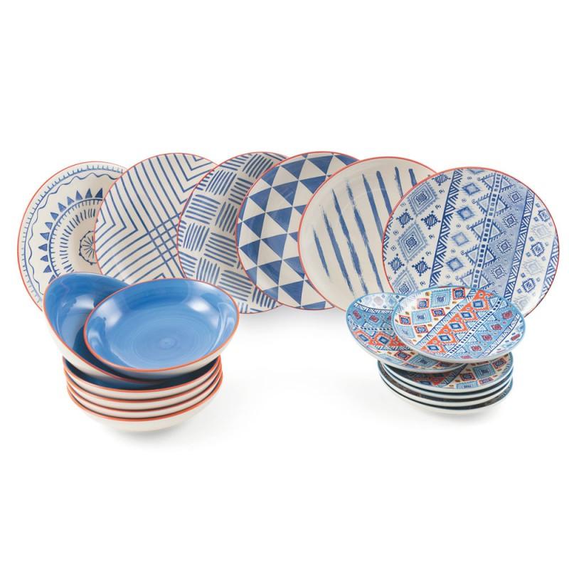 Service de table complet Plats colorés et modernes 18 pièces de design - Incas