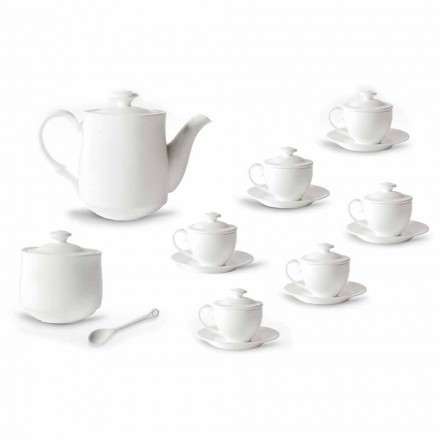Service complet de tasses à café 21 pièces en porcelaine blanche - Samantha