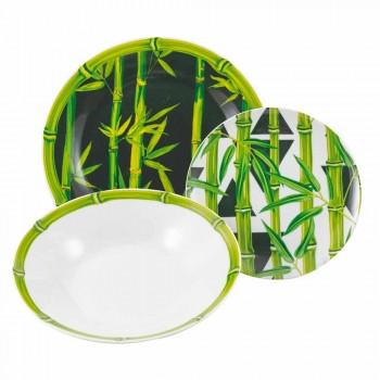 Service Complet Plats En Porcelaine Moderne Coloré Bambou 18 Pièces - Tiges