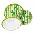 Service Complet Asiettes en Porcelaine Bamboo coloré moderne 18 Pièces - Canne