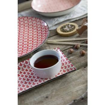 Assiettes à Service de Table Complètes en Grès Moderne 18 Pièces - Cochenille