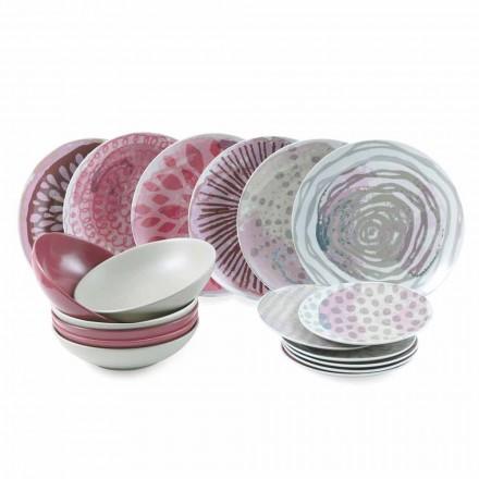 Service de Table en Porcelaine et Grès Asiettes colorés 18 Pièces - Ciclamino