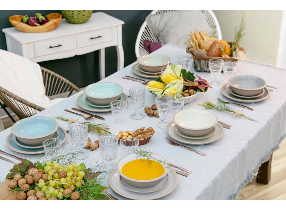 Ensemble de vaisselle de vaisselle de couleur 18 pièces - Osteria
