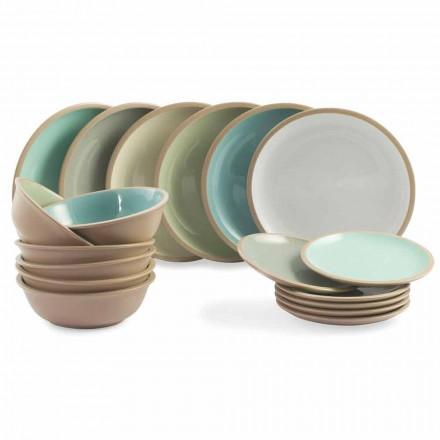 Service de Table Asiettes colorés en grès Complet 18 Pièces Design - Osteria