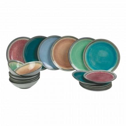 Plats de service de table en grès coloré moderne complet 18 pièces - Nassau