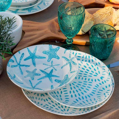 Assiettes de service de table en porcelaine blanche et bleu clair 18 pièces - Cozumel