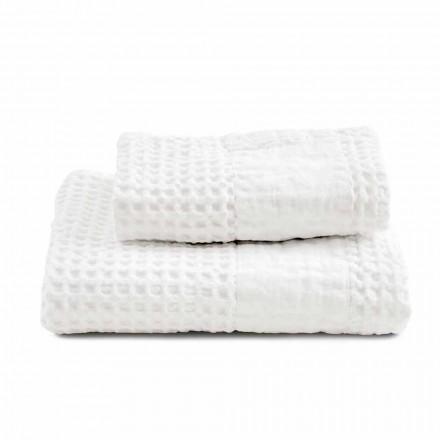 Ensemble de serviettes de bain en coton nid d'abeille et lin coloré - Turis
