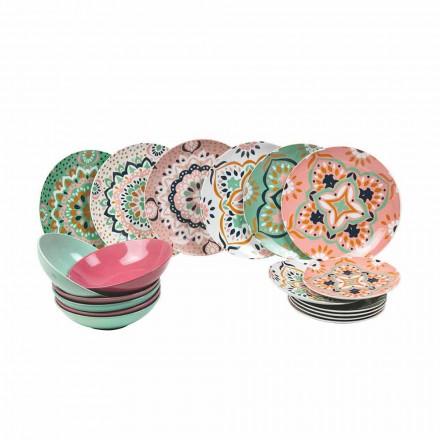 Ensemble de vaisselle colorée en porcelaine 18 pièces - Playasol