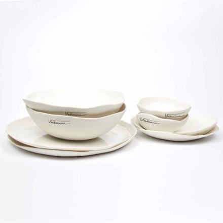 Service de vaisselle en porcelaine blanche Design de luxe 24 pièces - Arciregale