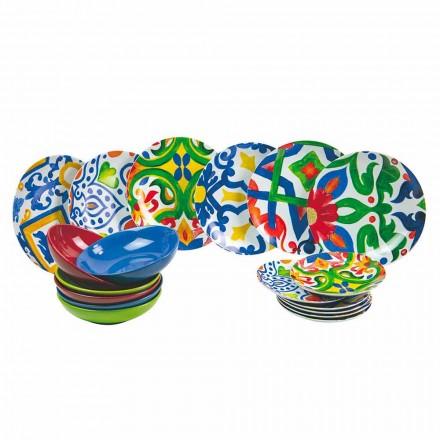 Ensemble d'assiettes modernes et colorées en grès et porcelaine 18 pièces - Ciclade