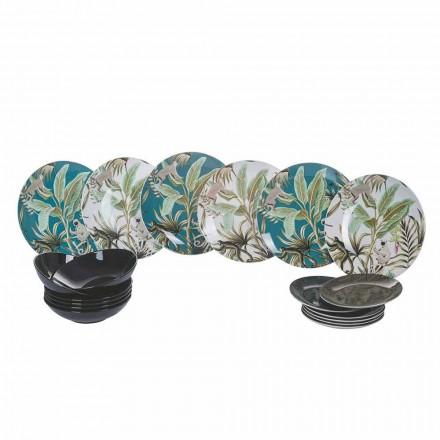 Service de vaisselle moderne en porcelaine et grès de couleur 18 pièces - Antananarivo