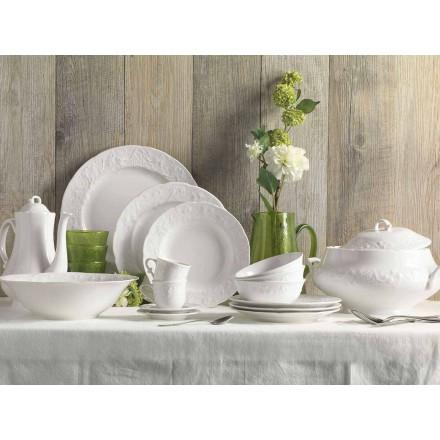 Ensemble de 27 assiettes design en porcelaine blanche élégante - Gimignano