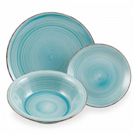 Service Asiettes colorés Bleus Complet de Table en grès 18 Pièces - Abruzzo4