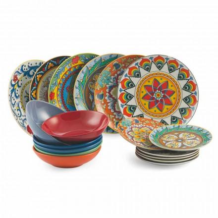 Service Asiettes colorés de Table 18 Pièces porcelaine et grès – Rinascimento