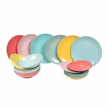 Ensemble de vaisselle 18 pièces en grès cérame moderne - Miami
