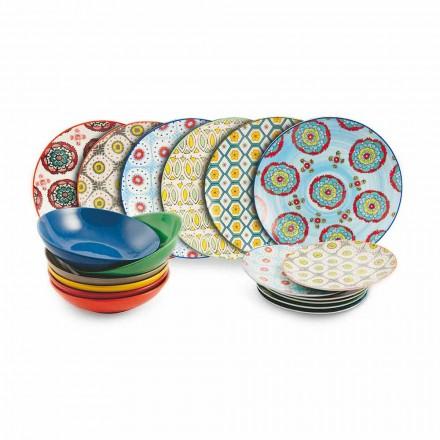 Service Asiettes colorés ethniques en Porcelaine et grès 18 Pièces - Istanbul