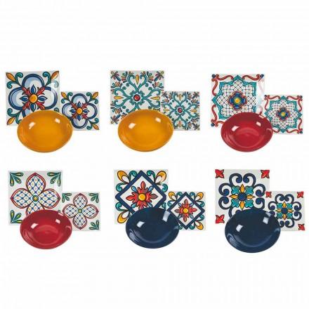Service d'assiettes colorées modernes en grès et porcelaine 18 pièces - Iglesias