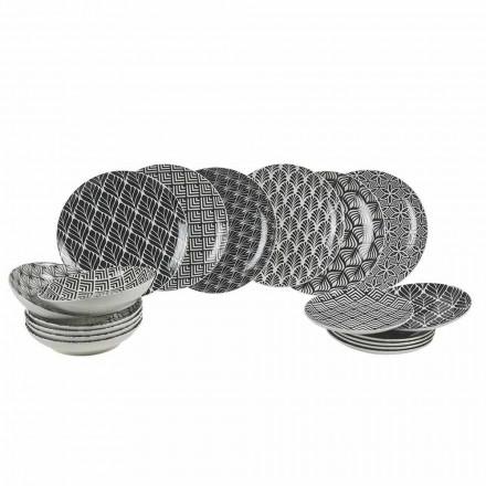 Service à dîner complet en porcelaine décorée et moderne 18 pièces - Stilotto