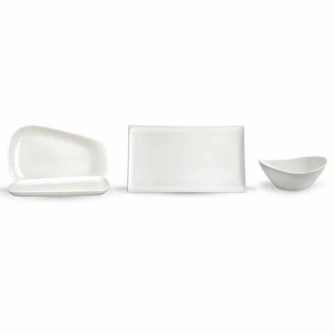 Assiettes de service pour le déjeuner ou la porcelaine moderne 14 pièces - Nalah