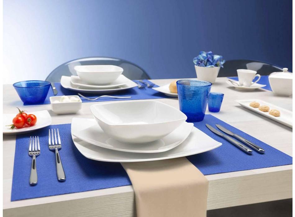 Assiettes à Service Carré Blanc et Design Moderne 26 Pièces - Usima