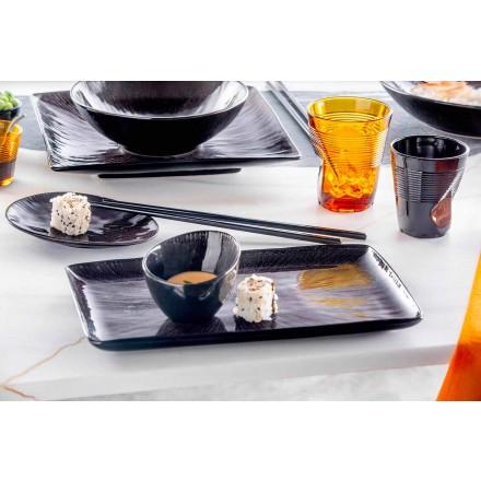 Service de vaisselle 28 pièces design moderne complet en porcelaine noire - Skar