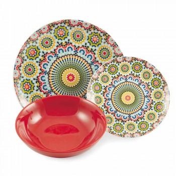 Assiettes plates colorées en porcelaine et grès 18 Mad - Maroc