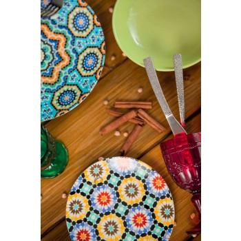 Assiettes à dîner ethniques colorées en porcelaine et grès 18 Mad - Maroc
