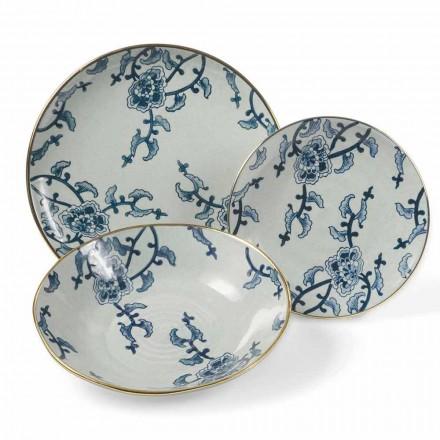 Service de vaisselle en porcelaine bleue et blanche moderne 18 pièces - Kyushu