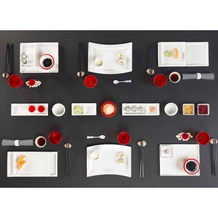 Plats Set Design Moderne Rectangulaire Porcelaine 25 Pièces - Melbourne