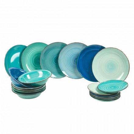 Service de vaisselle en grès moderne et coloré, complet 18 pièces - Pelagos